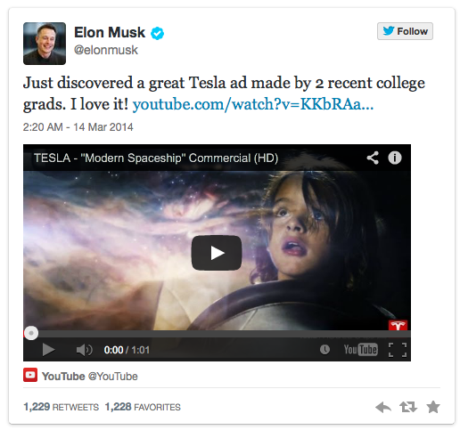 CEO Elon Musk Loves This Fake Tesla Ad
